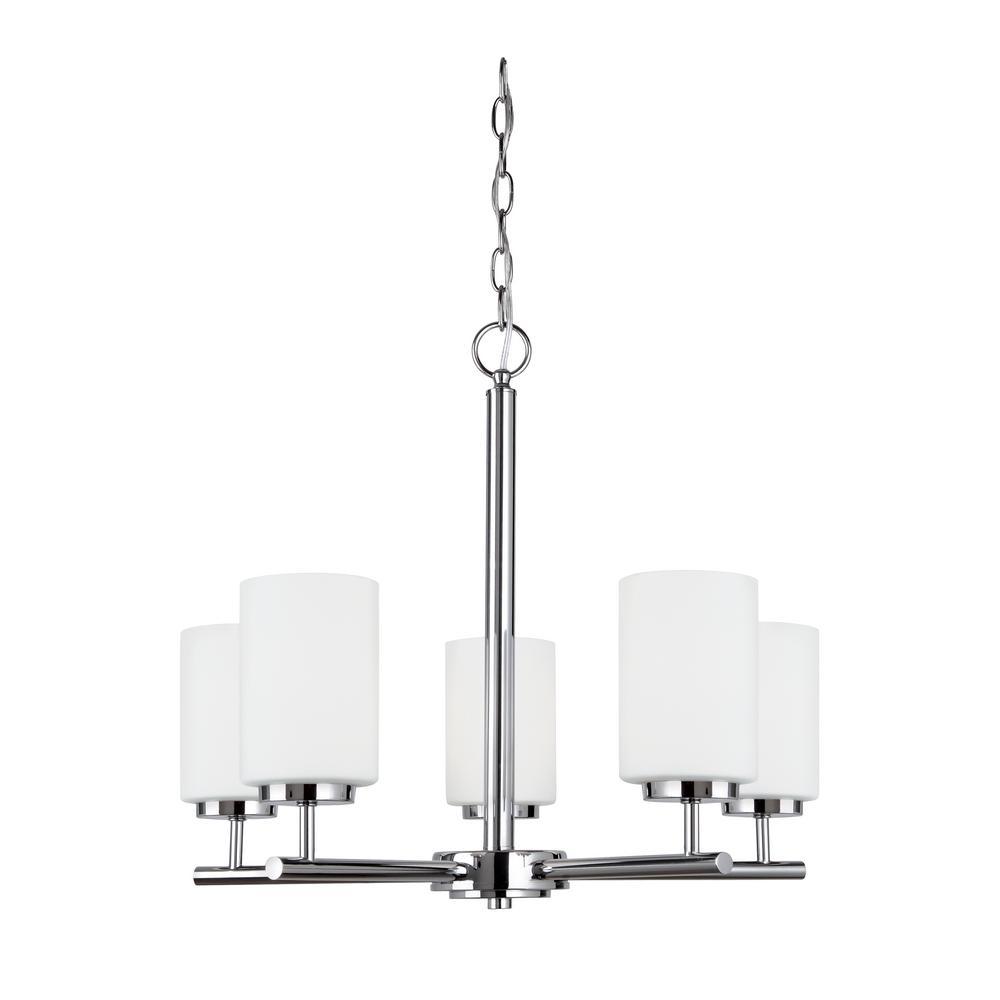 Led Light Bulbs Chandelier: Sea Gull Lighting Oslo 5-Light Chrome Chandelier With LED