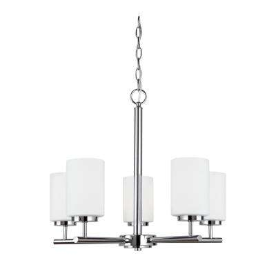 Oslo 5-Light Chrome Chandelier with LED Bulbs