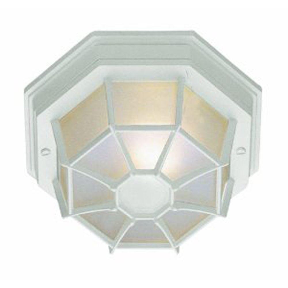 Bel Air Lighting Stewart 1-Light Outdoor White CFL Flush ...
