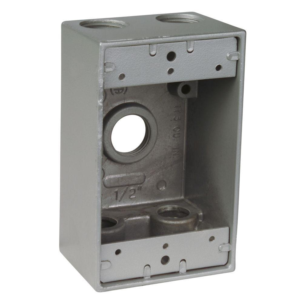 Red Dot 1 Gang Weatherproof Box With 3 2 In Holes Silver Case Home Depot Aluminum Wiring Receptacles Of 16 S102e R The