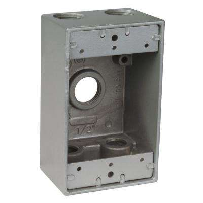1-Gang Weatherproof Box with 3 1/2 in. Holes -Silver (Case of 16)