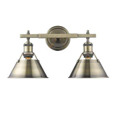 Orwell AB 2-Light Aged Brass Bath Light with Aged Brass Shade