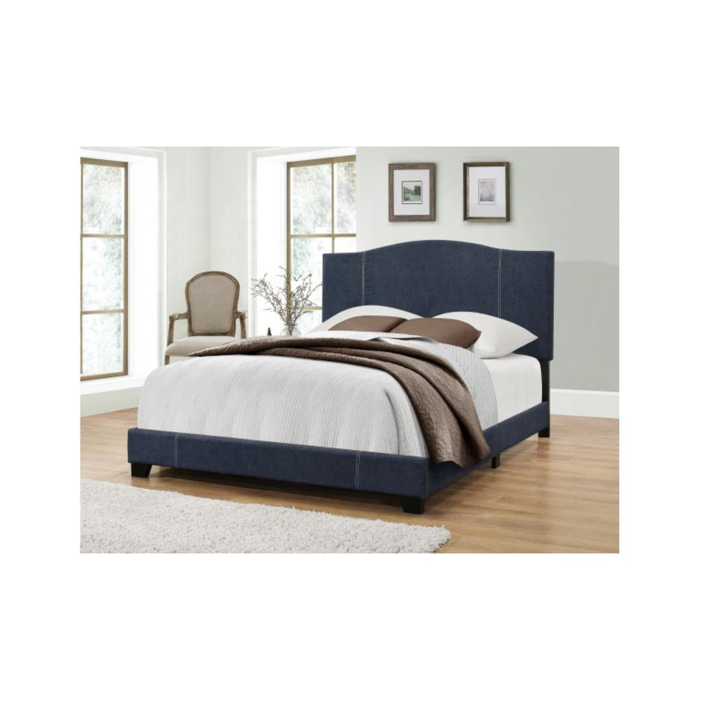 All-in-One Modified Camel Back Upholstered Denim Vintage Blue King Bed