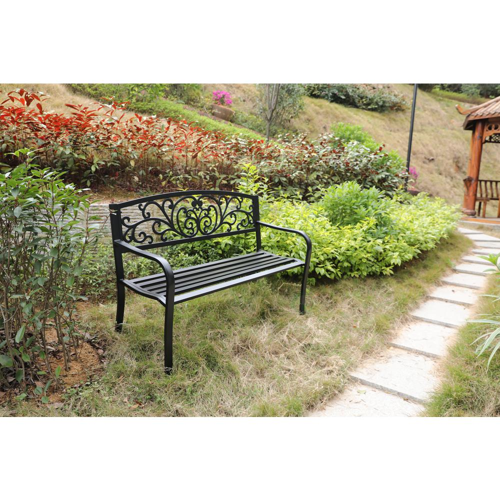 Gardenised Black Patio Garden Park Yard 50 In Outdoor Steel Bench Powder Coated With Cast Iron Back