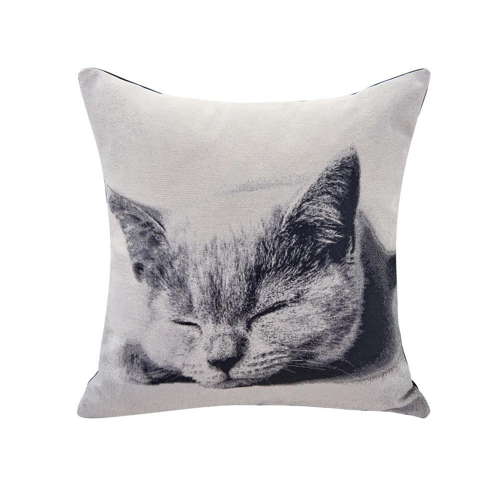 Sleeping Cat Printed Decorative Pillow
