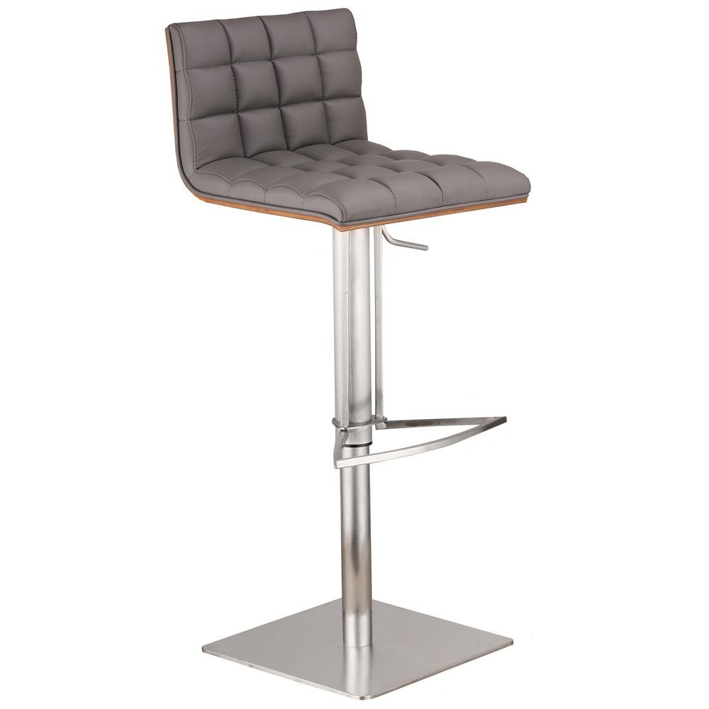 Oslo 31 in. Gray Faux Leather and Brushed Stainless Steel Finish