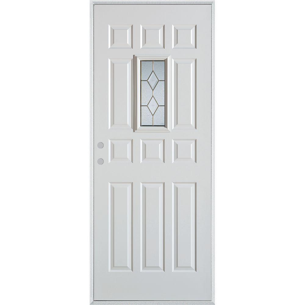 Stanley Doors 32 in. x 80 in. Geometric Brass Rectangular Lite 12-Panel Painted White Right-Hand Inswing Steel Prehung Front Door