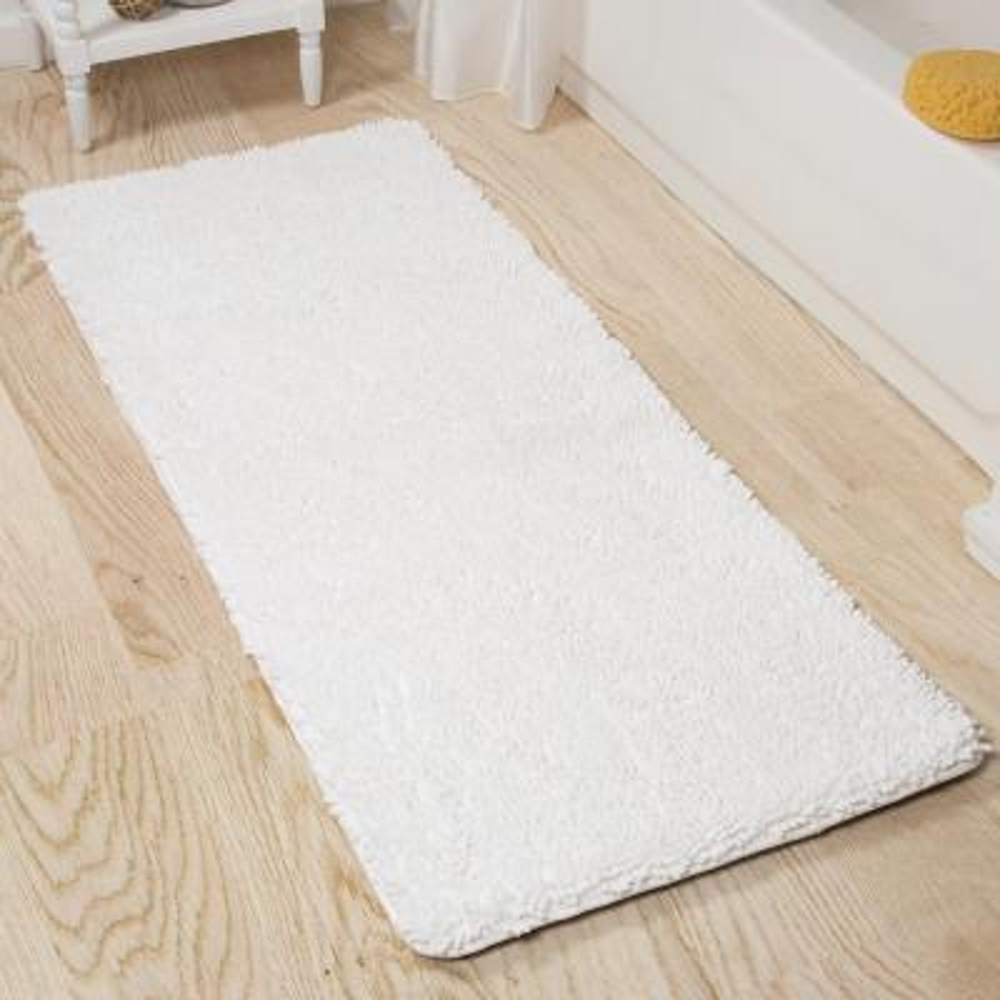 Shag White 24 in. x 60 in. Memory Foam Bath Mat
