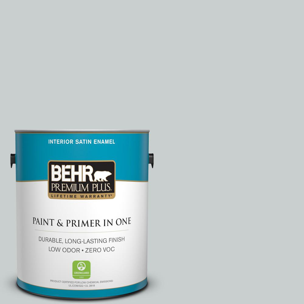 BEHR Premium Plus 1 Gal. #720E 2 Light French Gray Satin Enamel Zero