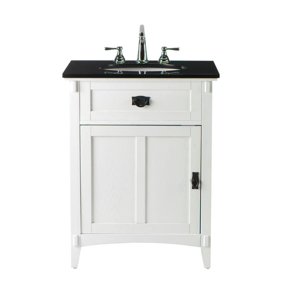 Home Decorators Collection Artisan 26 in. W x 34 in. H Bath Vanity in White with Granite Vanity Top in Black