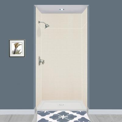 Expressions 36 in. x 48 in. x 96 in. 4-Piece Easy Up Adhesive Alcove Shower Wall Surround in Cameo