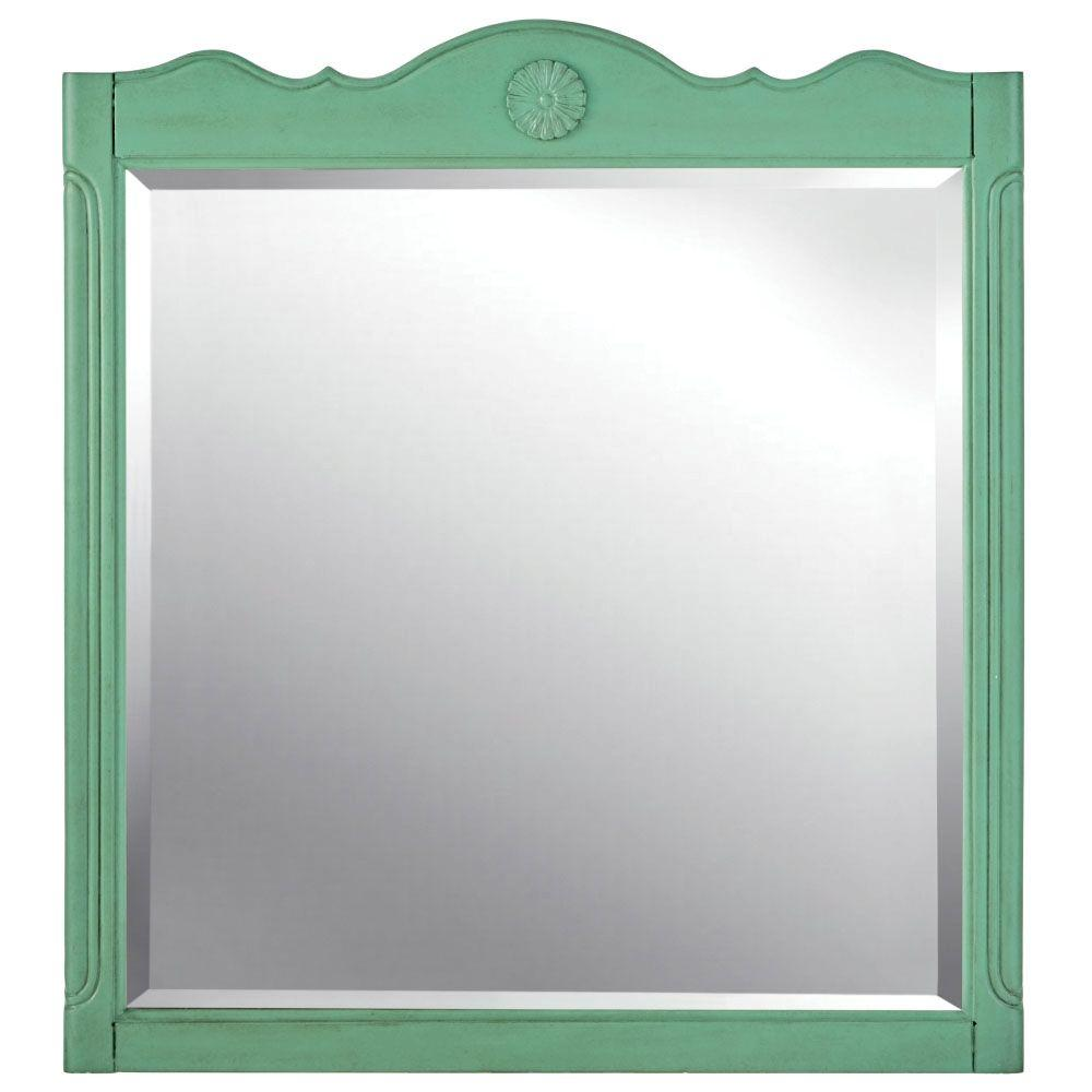 Home Decorators Collection Keys 33 In W X 36 In H Single Bathroom Mirror In Distressed Aqua