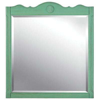 Keys 33 in. W x 36 in. H Single Bathroom Mirror in Distressed Aqua Marine