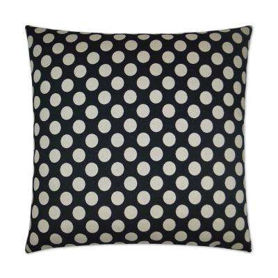 Polka Dots Black Feather Down 24 in. x 24 in. Standard Decorative Throw Pillow