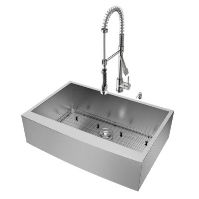 All-in-One 33 in. Camden Stainless Steel Single Bowl Farmhouse Kitchen Sink with Pull Down Faucet in Stainless Steel