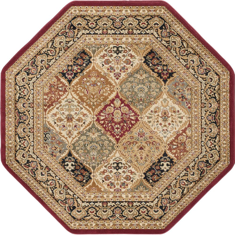 Tayse Rugs Sensation Red 5 Ft Octagon Traditional Area Rug 4770 6 The Home Depot