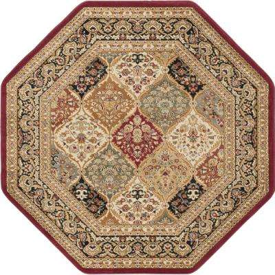 Sensation Red 5 ft. 3 in. Octagon Traditional Area Rug