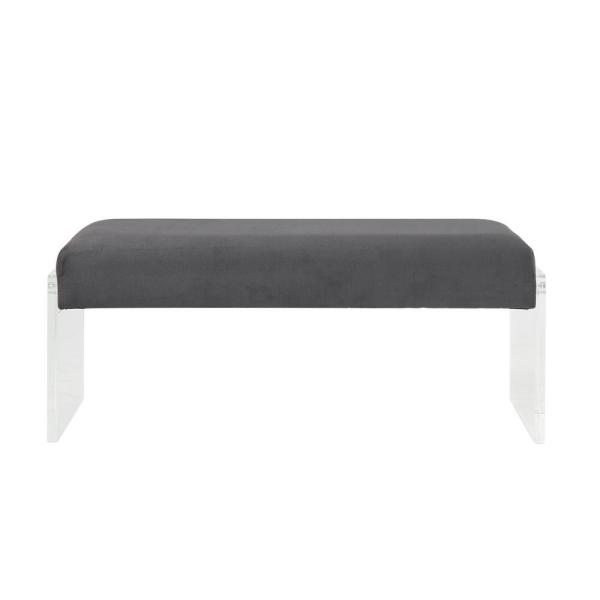 Acme Furniture Marah Charcoal and Clear Acrylic Bench 96713