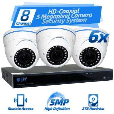 8-Channel HD-Coaxial 5MP System Bundle with 6 Dome Cameras 2.8 - 12 mm Manual Varifocal Lens and 2TB HDD
