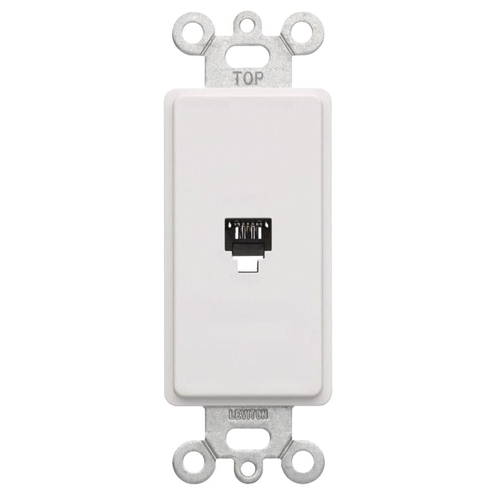 Wall Jacks Plates The Home Depot Rj45 To Bt Socket Wiring Decora 6p4c Telephone Insert White