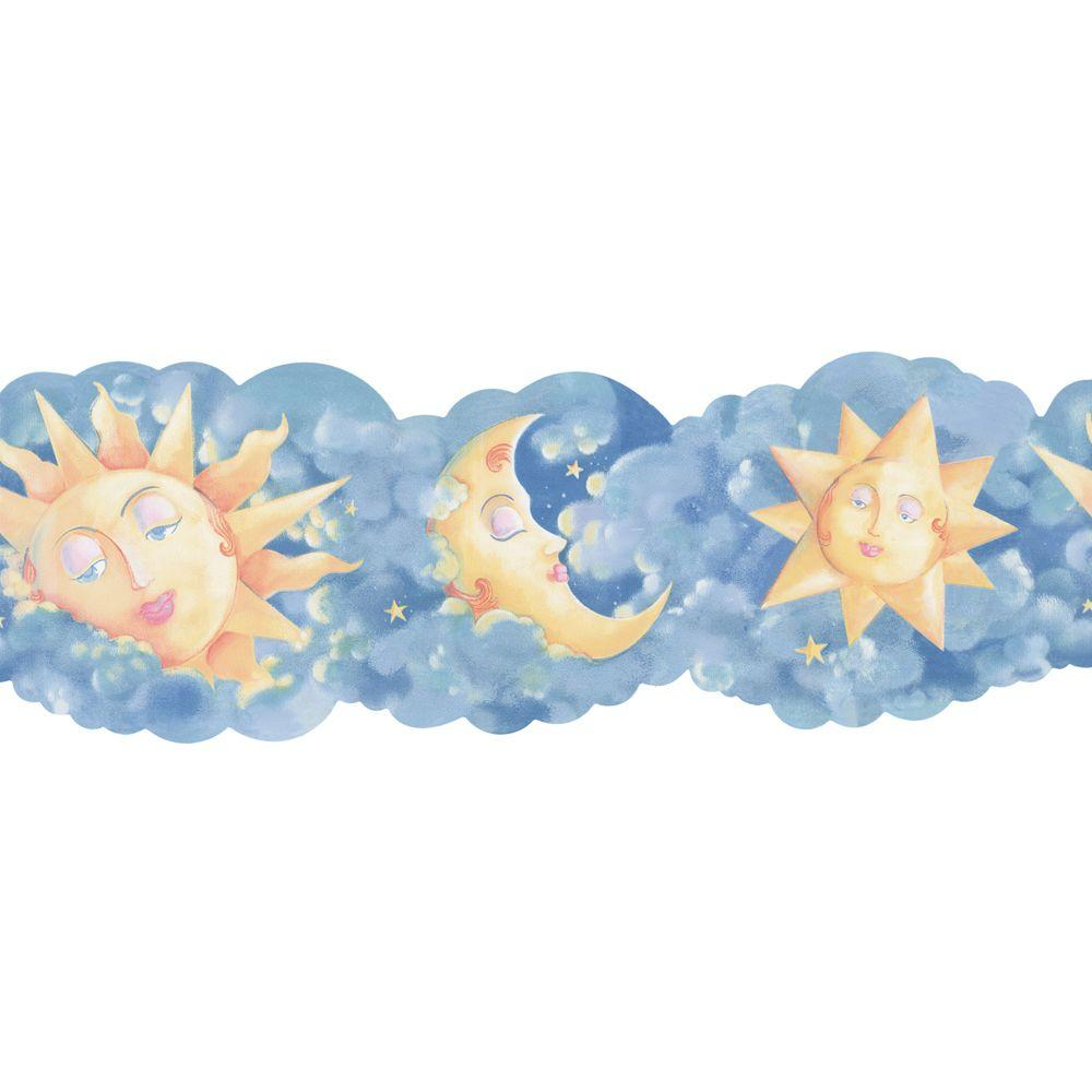 The Wallpaper Company 8 in. x 10 in. Blue and Yellow Novelty Celestial Border Sample