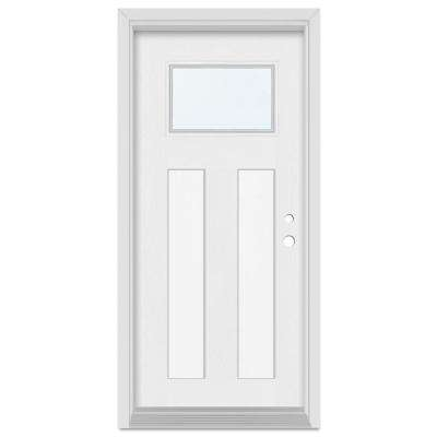 32 in. x 80 in. Infinity Left-Hand Craftsman Finished Fiberglass Mahogany Woodgrain Prehung Front Door Brickmould