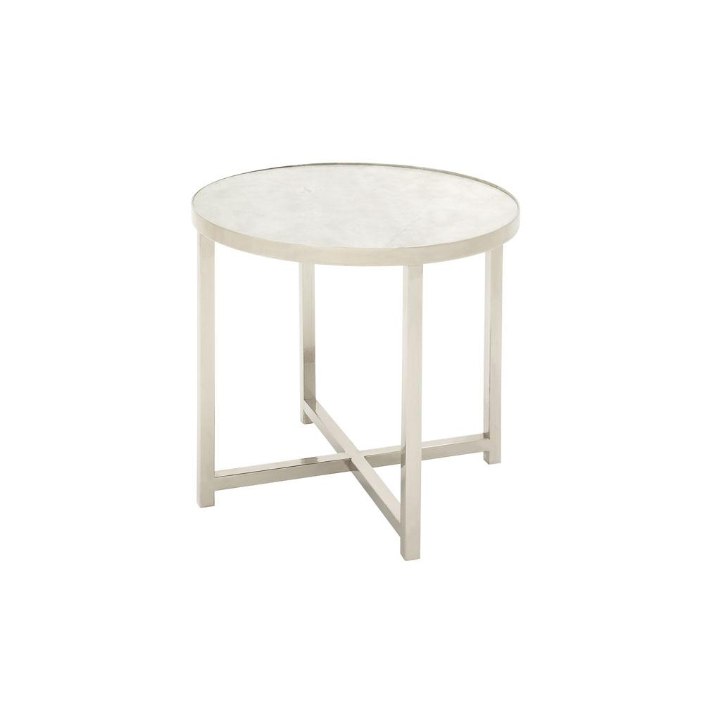 White Round Accent Table With Silver Legs