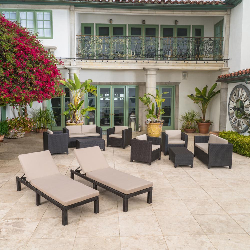 Puerta Dark Brown 10-Piece Wicker Outdoor Sectional Set with Beige Cushions