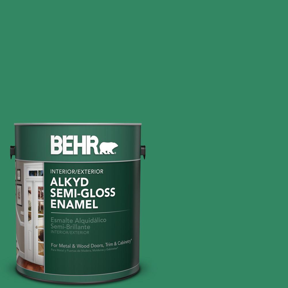 1 gal. #P420-6 Exquisite Emerald Semi-Gloss Enamel Alkyd Interior/Exterior Paint