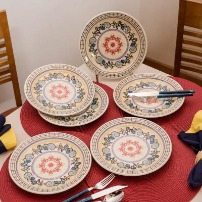 7.87 in. Floreal Orange and Yellow Salad Plates (Set of 12)