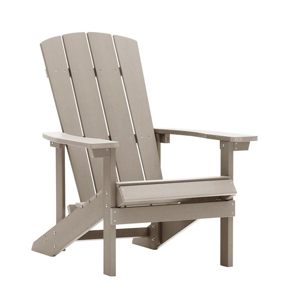 Light Gray Outdoor Reclining Composite Patio Adirondack Chair