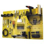 32 in. x 48 in. Metal Pegboard Standard Tool Storage Kit with Yellow Pegboard and Black Peg Accessories