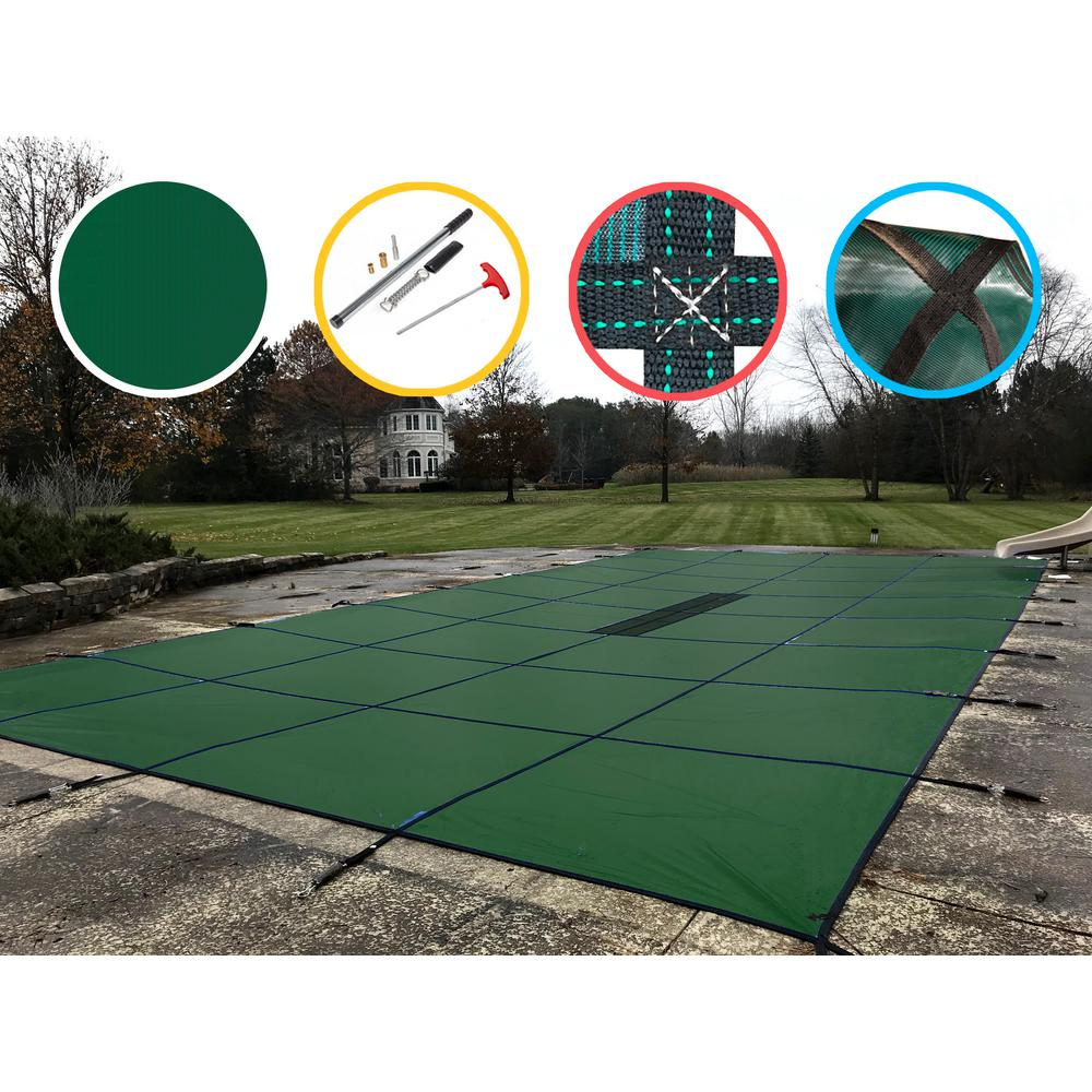 WaterWarden 30 ft. x 50 ft. Rectangle Green Solid In-Ground Safety Pool Cover
