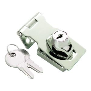 DINGCHI Twist Knob Keyed Locking Hasp for Small Doors Metallics Hasp Cabinets and More Keyed Hasp Lock in Chrome Plated Steel