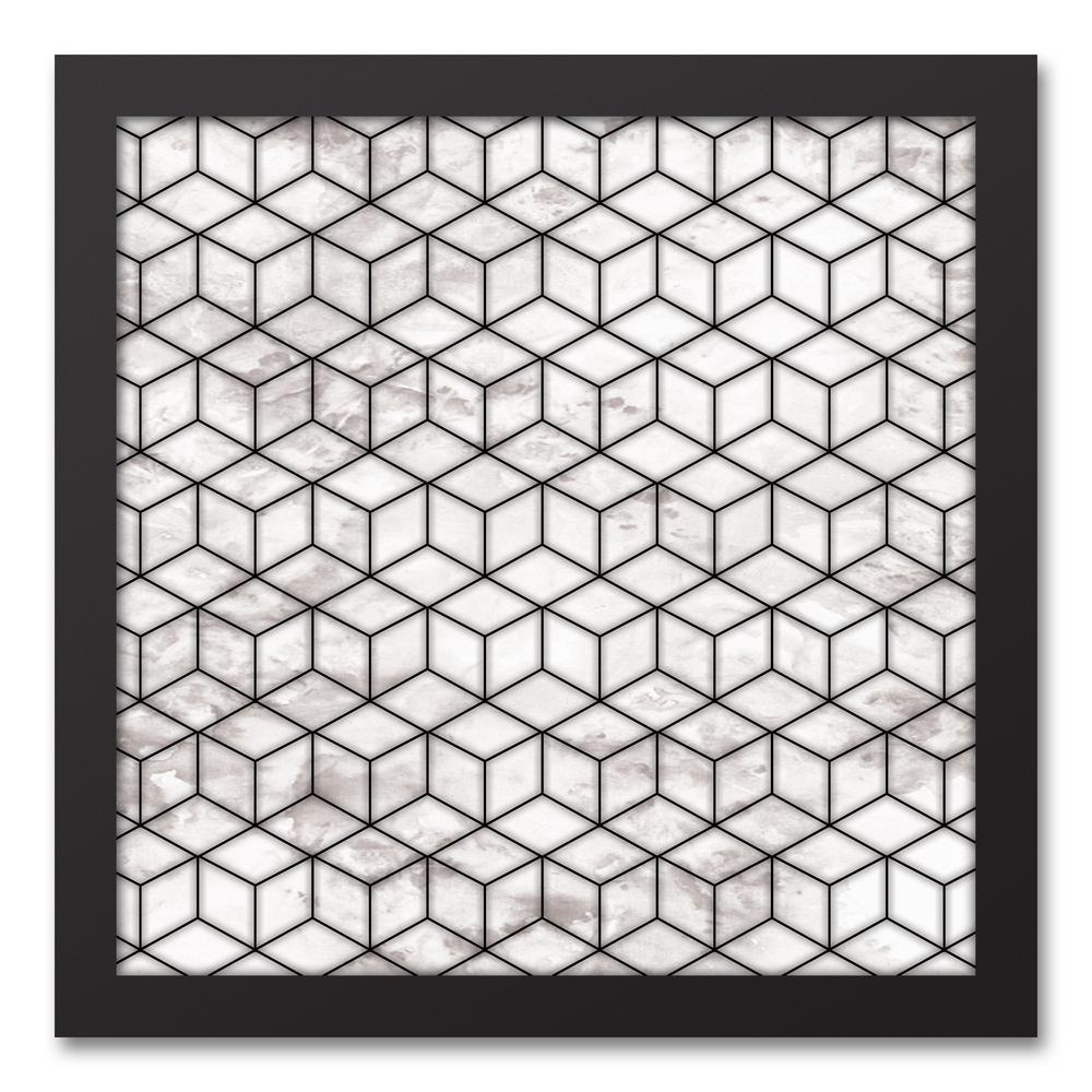 12 in. x 12 in. ''Marble Cubes'' Printed Framed Canvas Wall