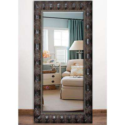 33 in. x 66.5 in. Feathered Accent Beveled Full Body Mirror