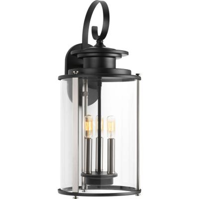 Squire Collection 3-Light Black 22.75 in. Outdoor Wall Lantern Sconce