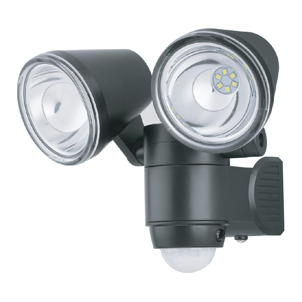 Super Bright Black 330 Lumen Motion Activated Outdoor Dual Head Led 6500k Battery Ed Landscape Flood Light