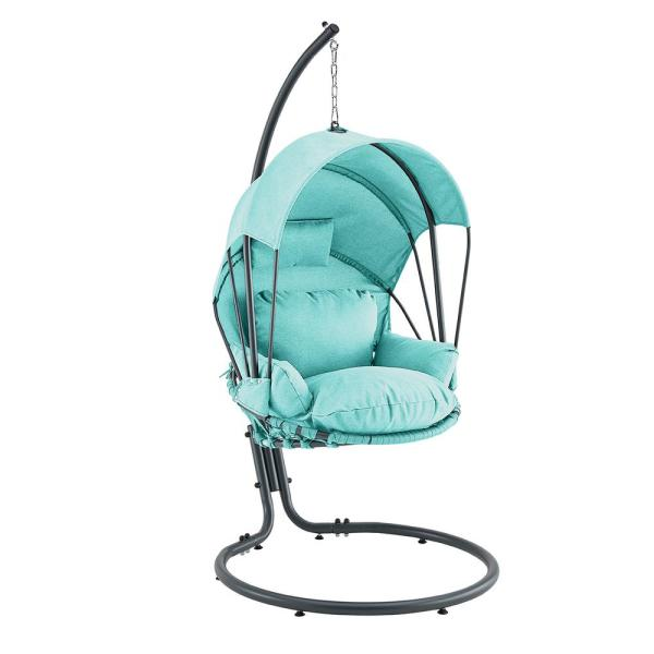 Mid Century Rattan Chair, Barton Blue Patio Hanging Egg Swing Chair With Uv Resistant Polyester Fabric Canopy Cover And Powder Coated Steel Frame Stand 93909 The Home Depot