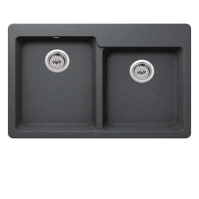 Dual Mount Quartz 33 in. 0-Hole 50/50 Offset Double Bowl Kitchen Sink in Gray