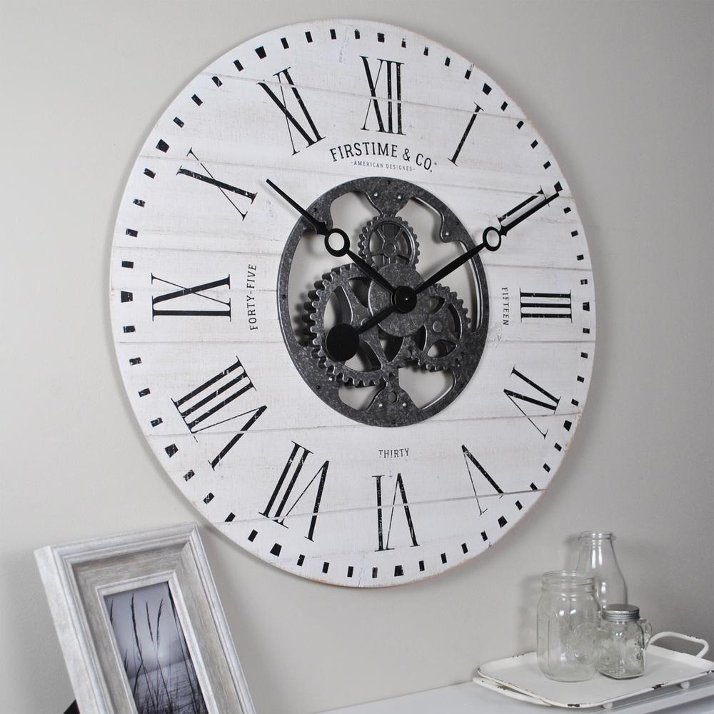 27 in. Shiplap Gears Wall Clock