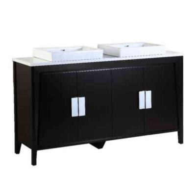 Clara 60 in. W x 18.3 in. D x 34 in. H Double Vanity in Dark Espresso with Ceramic Vanity Top in White with White Basins