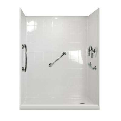 Freedom Package 60 in. x 33.375 in. x 79.5 in. 5-Piece Low Threshold Shower Stall in White, Right Drain