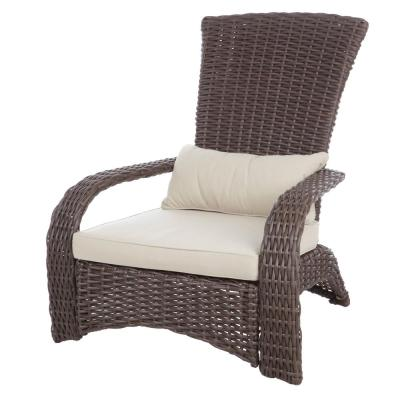Deluxe Coconino All-Weather Stationary Wicker Patio Adirondack Outdoor Lounge Chair with Beige Cushion