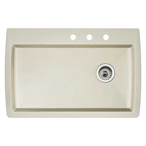 Blanco Diamond Dual Mount Granite 33 5 In 3 Hole Single Bowl Kitchen Sink In Biscuit 440196 3 The Home Depot