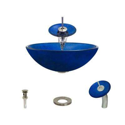 Glass Vessel Sink in Foil Undertone Royal Blue with Waterfall Faucet and Pop-Up Drain in Brushed Nickel