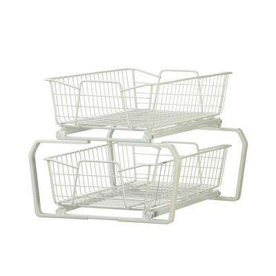 12.11 in. W 2-Tier Ventilated Wire Sliding Cabinet Organizer in White