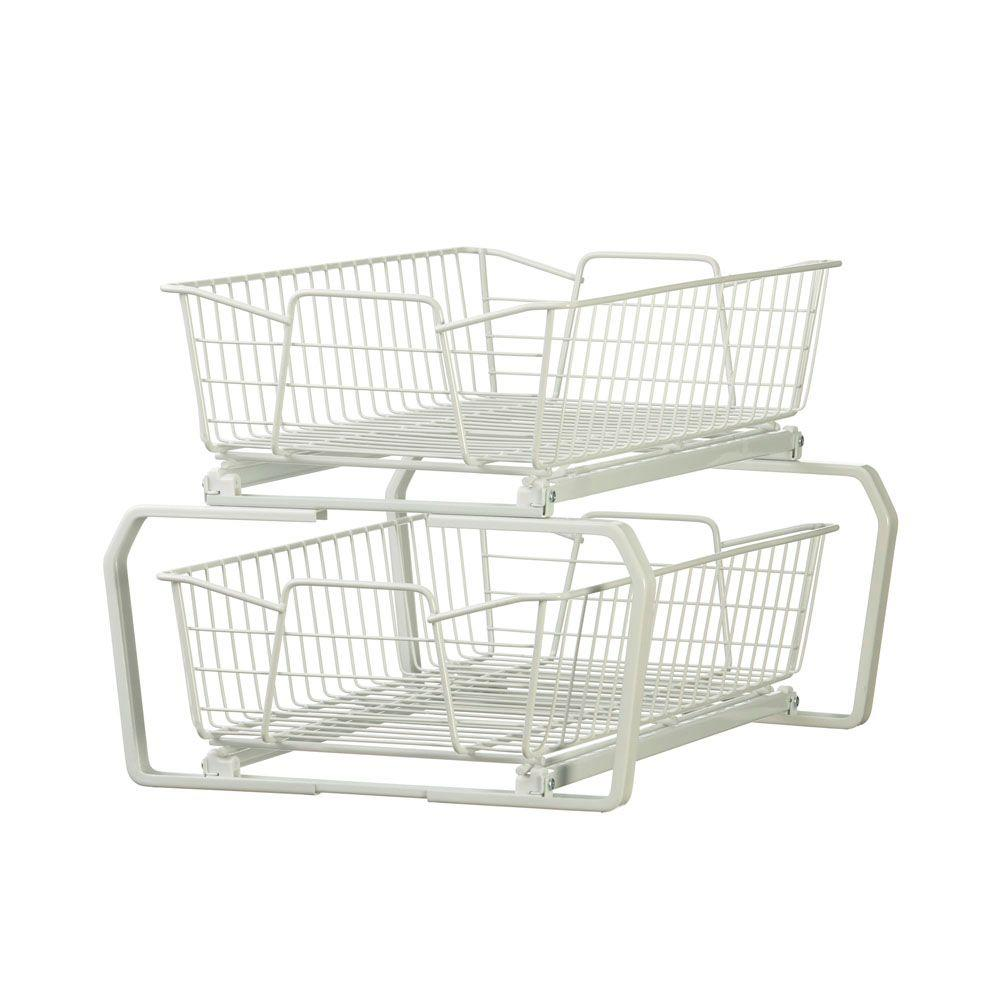 W 2 Tier Ventilated Wire Sliding Cabinet Organizer In White