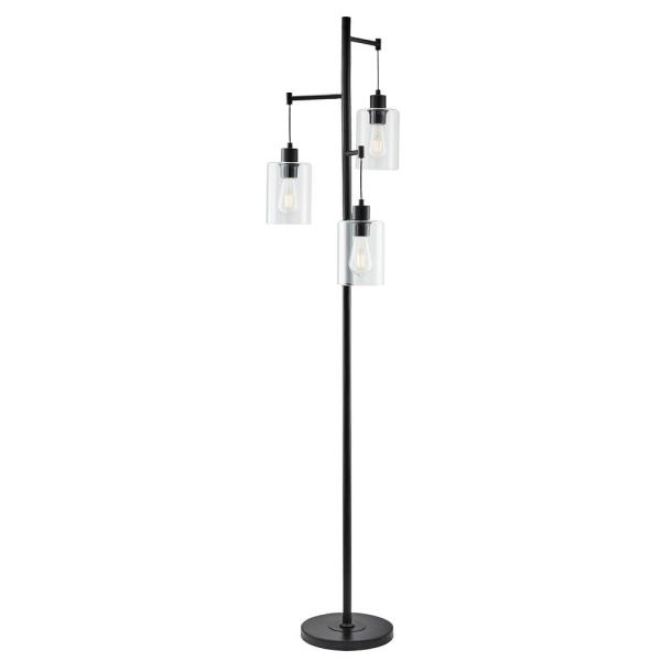 65 in. Black Industrial Floor Lamp with Hanging Glass Shades 3-Light
