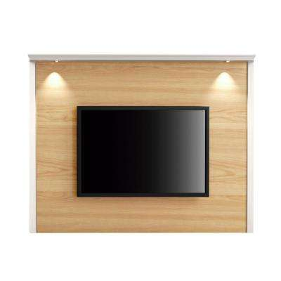 Carder 85.43 in. Nature Wood and Off White TV Panel